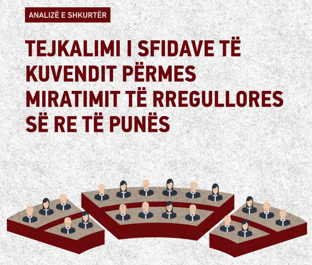 """Publikimi i analizës """"Tejkalimi i sfidave të Kuvendit përmes miratimit të rregullorës së re të punës"""""""